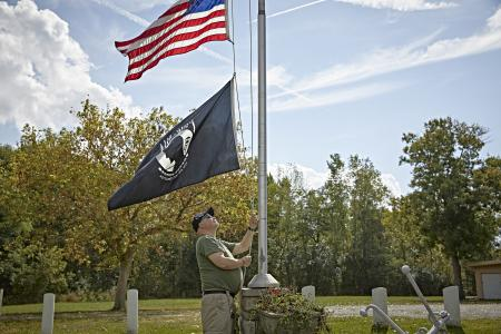 US Flag, POW/MIA flag,  honoring veterans